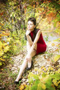 Autumn beauty woman portrait of beautiful young girl on nature Royalty Free Stock Image