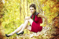 Autumn beauty woman portrait of beautiful young girl on nature Royalty Free Stock Photos