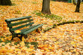 Autumn bench Stock Photography