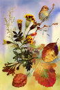 Autumn bird hand drawn painting Royalty Free Stock Photos