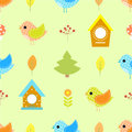 Autumn bird seamless pattern for children birdhouse, house