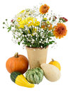 Autumn blooms and pumpkins Royalty Free Stock Photo