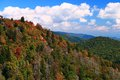 Autumn blue skies over the blue ridge mountains falls has arrived to mountain with an array of color Royalty Free Stock Photos