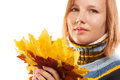 Autumn bouquet beautiful young woman in striped sweater holding of leaves isolated on white background Royalty Free Stock Photos