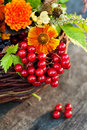 Autumn bouquet composition of flowers on wooden background Royalty Free Stock Photography