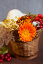Autumn bouquet flowers and berries in basket Royalty Free Stock Photo