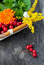 Autumn bouquet of flowers and berries in basket Stock Images