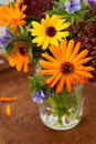 Autumn bouquet of flowers in vase on wooden background Royalty Free Stock Image