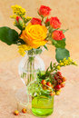 Autumn bouquet in the vases Stock Images
