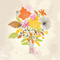 Autumn bouquets on grunge background Royalty Free Stock Image