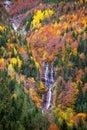 Autumn Bujaruelo Ordesa waterfal in colorful fall forest Huesca Stock Photos