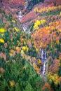 Autumn Bujaruelo Ordesa waterfal in colorful fall forest Huesca Stock Image