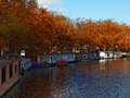Autumn Canal in Amsterdam Stock Images