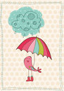 Autumn Card with bird in rain boots Stock Image