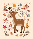 Autumn card with deer and leaves
