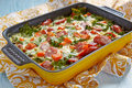 Autumn casserole with sweet potato and kale sausage Royalty Free Stock Photos
