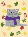 Autumn cat happy grey over leaves background Stock Images