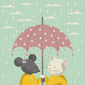 Autumn cat and mouse in a yellow the illustration raincoat standing under pink umbrella with white polka dots on the sky clouds Stock Images