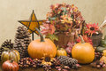 Autumn centerpiece with glass star Royalty Free Stock Photography