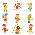 Autumn children s outdoor seasonal activities set. Collecting leaves, playing and throwing leaves, picking mushrooms