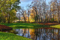 Autumn chinese pavilion in pushkin garden landscape catherine park russia view to the Stock Photo