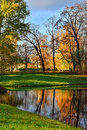 Autumn chinese pavilion in pushkin garden landscape catherine park russia view to the Royalty Free Stock Image