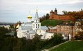 Autumn church elijah the prophet and kremlin nizhny novgorod view of russia Royalty Free Stock Photo