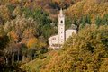 Autumn church Tuscan Emilian Apennines Royalty Free Stock Photo