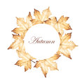 Autumn circle frame with maple leaves drawing. Royalty Free Stock Photo
