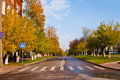 Autumn in the city, road transition Stock Photo