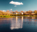 Autumn city a typical russian landscape in a sunny day Royalty Free Stock Photography