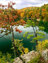 Autumn cliff view of Pink Lake Gatineau Park Royalty Free Stock Photo