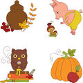 Autumn clip art four isolated cartoon icons Stock Image