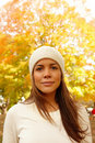 Autumn - Close up portrait of young woman Stock Image