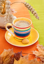 Autumn coffee cup an expresso on background Royalty Free Stock Photography