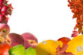 Autumn collage card with fruits and leaves Royalty Free Stock Photo