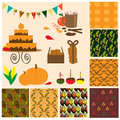 Autumn collection with 7 seamless patterns, food and other element Royalty Free Stock Photo