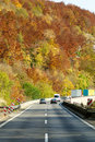 Autumn color highway Stock Photo