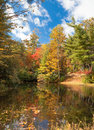 Autumn color surrounds mirror lake in fall Royalty Free Stock Photo