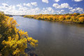 Autumn colors along the Mississippi River, Minnesota Royalty Free Stock Photo