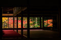 Autumn colors behind Tenju-an Temple building, Kyoto Royalty Free Stock Photo