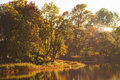 Autumn colors by the lake morning with sunlight make warm Royalty Free Stock Photography