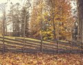 Autumn colors, old wooden fence with autumn colors. Autumn trees and leaves. Royalty Free Stock Photo