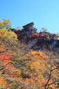 Autumn colours of crag mt myogi cannon stone gunma japan Royalty Free Stock Photography