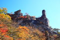 Autumn colours of crag mt myogi cannon stone gunma japan Stock Photos