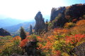 Autumn colours of crag mt myogi gunma japan Royalty Free Stock Photos
