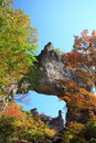 Autumn colours of crag mt myogi stone arch gunma japan Stock Images