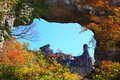 Autumn colours of crag mt myogi stone arch gunma japan Royalty Free Stock Images