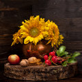 Autumn composition with flowers sunflower Royalty Free Stock Photo