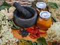 Autumn composition with pepper spices and flowers Stock Photography